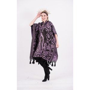 Mexican Our Lady of Guadalupe Poncho Lilac Black